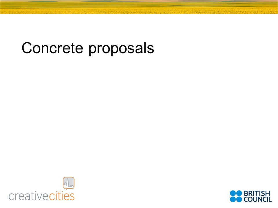 Concrete proposals