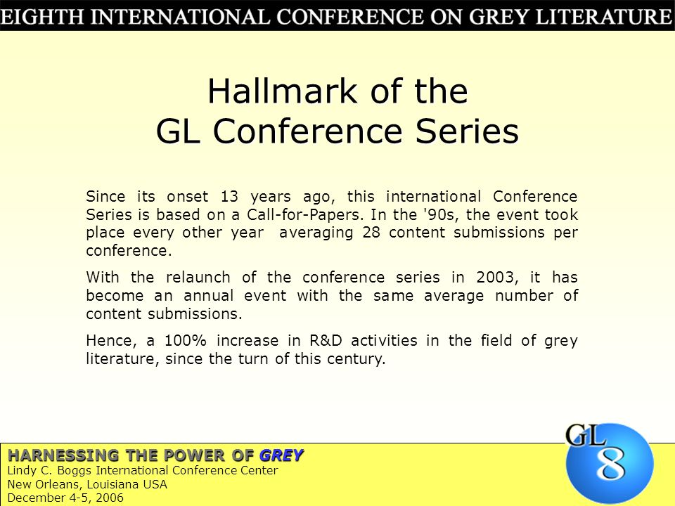Hallmark of the GL Conference Series Since its onset 13 years ago, this international Conference Series is based on a Call-for-Papers.