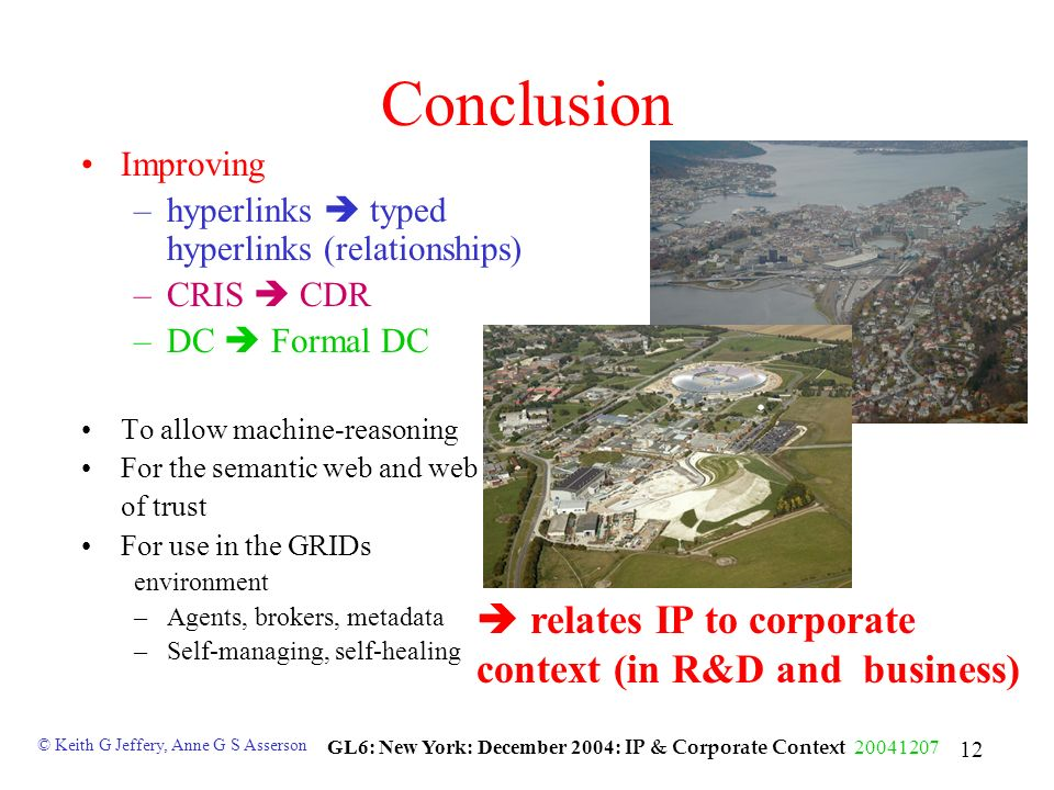 © Keith G Jeffery, Anne G S Asserson GL6: New York: December 2004: IP & Corporate Context 20041207 12 Conclusion Improving –hyperlinks typed hyperlinks (relationships) –CRIS CDR –DC Formal DC To allow machine-reasoning For the semantic web and web of trust For use in the GRIDs environment –Agents, brokers, metadata –Self-managing, self-healing relates IP to corporate context (in R&D and business)