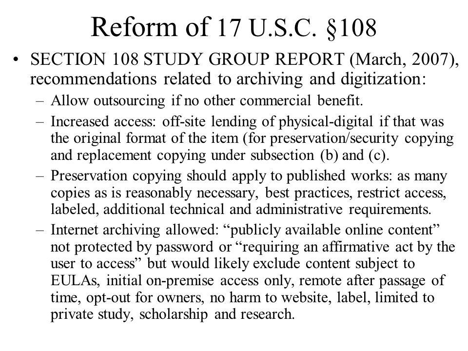 Reform of 17 U.S.C.