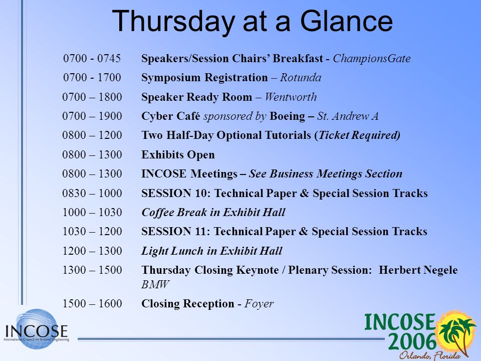 Thursday at a Glance 0700 - 0745Speakers/Session Chairs Breakfast - ChampionsGate 0700 - 1700Symposium Registration – Rotunda 0700 – 1800Speaker Ready Room – Wentworth 0700 – 1900Cyber Café sponsored by Boeing – St.