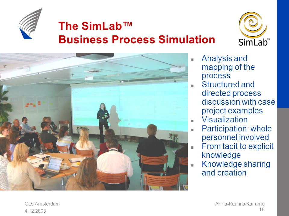 GL5 Amsterdam 4.12.2003 Anna-Kaarina Kairamo 18 The SimLab Business Process Simulation n Analysis and mapping of the process n Structured and directed