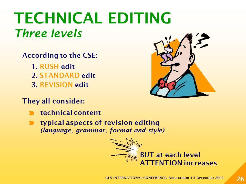 GL5 INTERNATIONAL CONFERENCE, Amsterdam 4-5 December 2003 26 TECHNICAL EDITING Three levels 1. RUSH edit 2. STANDARD edit 3. REVISION edit According t