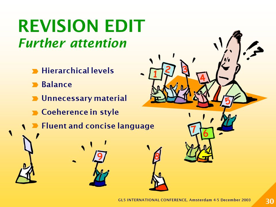 GL5 INTERNATIONAL CONFERENCE, Amsterdam 4-5 December 2003 30 REVISION EDIT Further attention 1 2 3 6 7 8 4 5 9 Hierarchical levels Balance Unnecessary material Coeherence in style Fluent and concise language