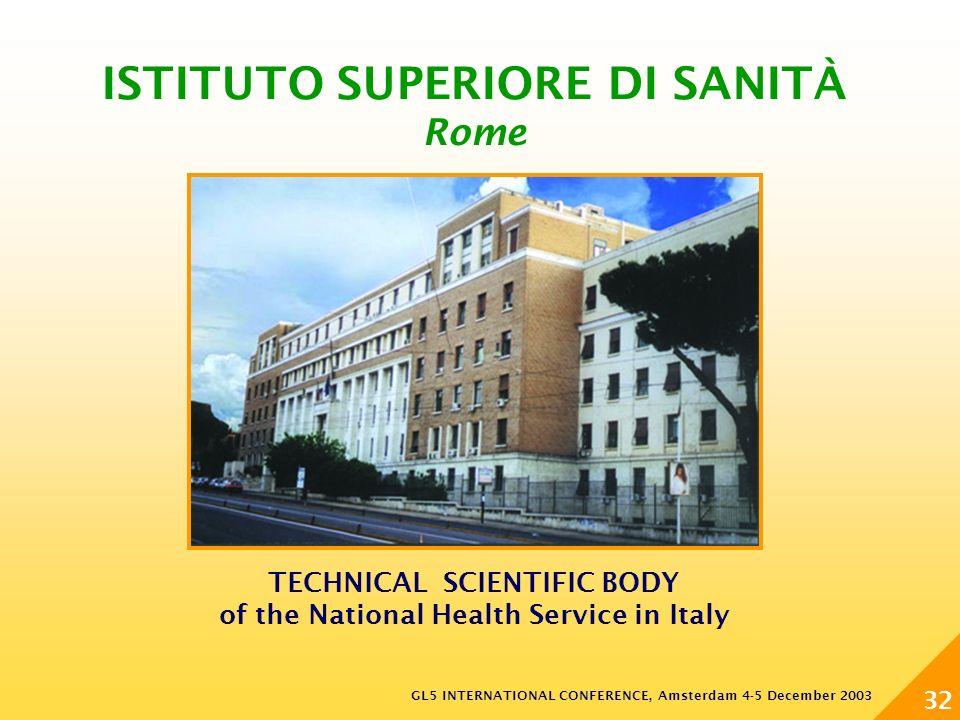 GL5 INTERNATIONAL CONFERENCE, Amsterdam 4-5 December 2003 32 TECHNICAL SCIENTIFIC BODY of the National Health Service in Italy ISTITUTO SUPERIORE DI SANITÀ Rome