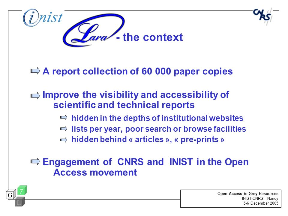 - the context A report collection of 60 000 paper copies Improve the visibility and accessibility of scientific and technical reports hidden in the de