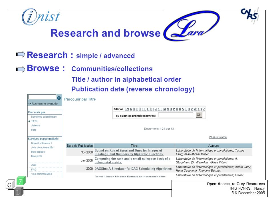 Research and browse Research : simple / advanced Browse : Communities/collections Title / author in alphabetical order Publication date (reverse chron