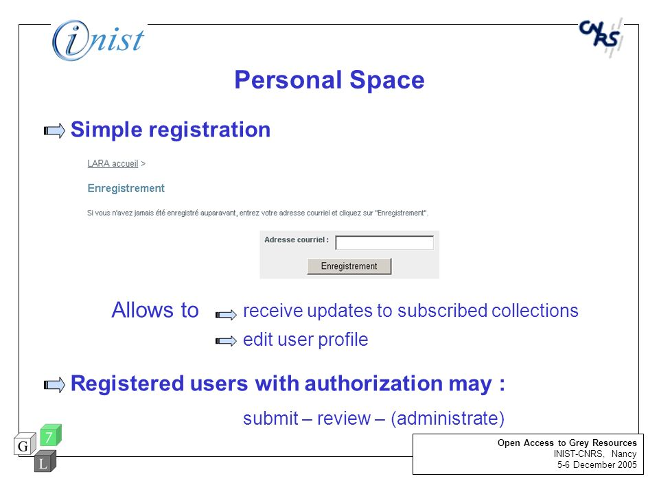 Personal Space Simple registration Allows to receive updates to subscribed collections edit user profile Registered users with authorization may : sub
