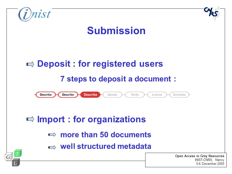 Submission Deposit : for registered users 7 steps to deposit a document : Import : for organizations more than 50 documents well structured metadata O