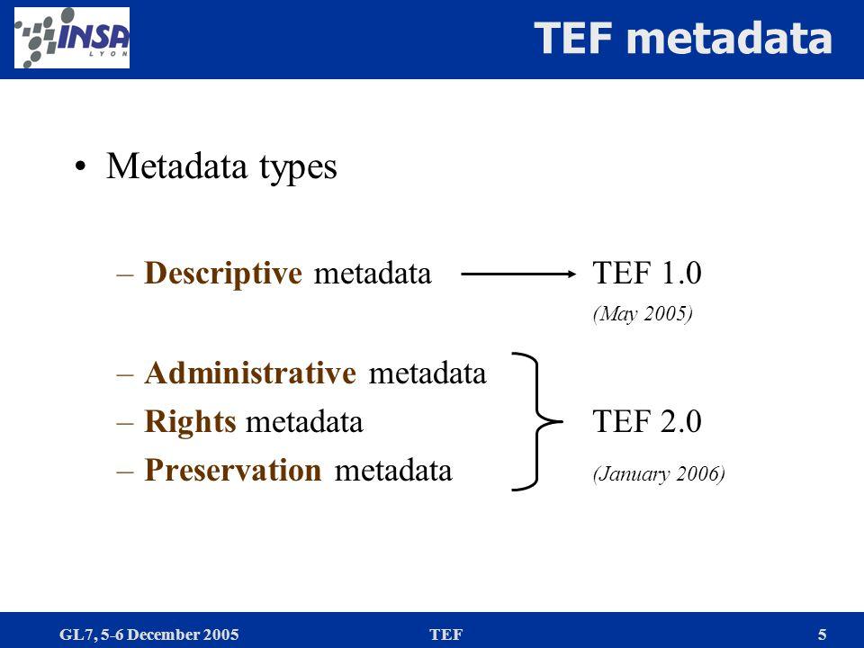 GL7, 5-6 December 2005TEF5 TEF metadata Metadata types –Descriptive metadataTEF 1.0 (May 2005) –Administrative metadata –Rights metadataTEF 2.0 –Prese