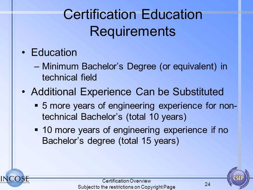 Certification Overview Subject to the restrictions on Copyright Page 24 Certification Education Requirements Education –Minimum Bachelors Degree (or e
