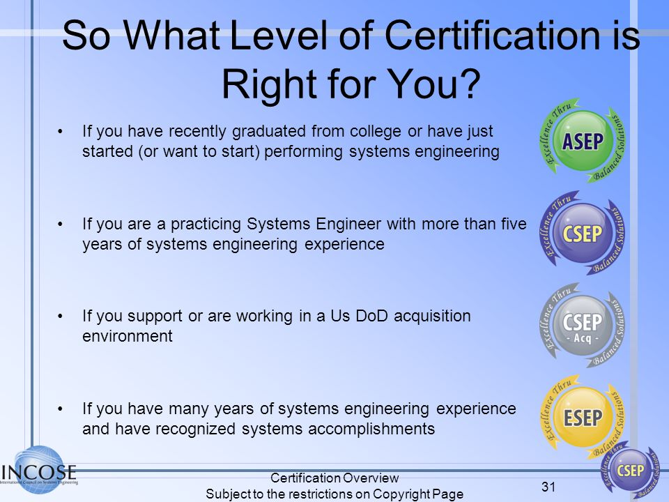 So What Level of Certification is Right for You? If you have recently graduated from college or have just started (or want to start) performing system