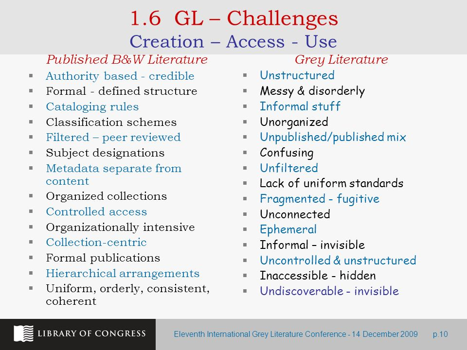 Eleventh International Grey Literature Conference - 14 December 2009p.10 1.6 GL – Challenges Creation – Access - Use Published B&W Literature Authorit