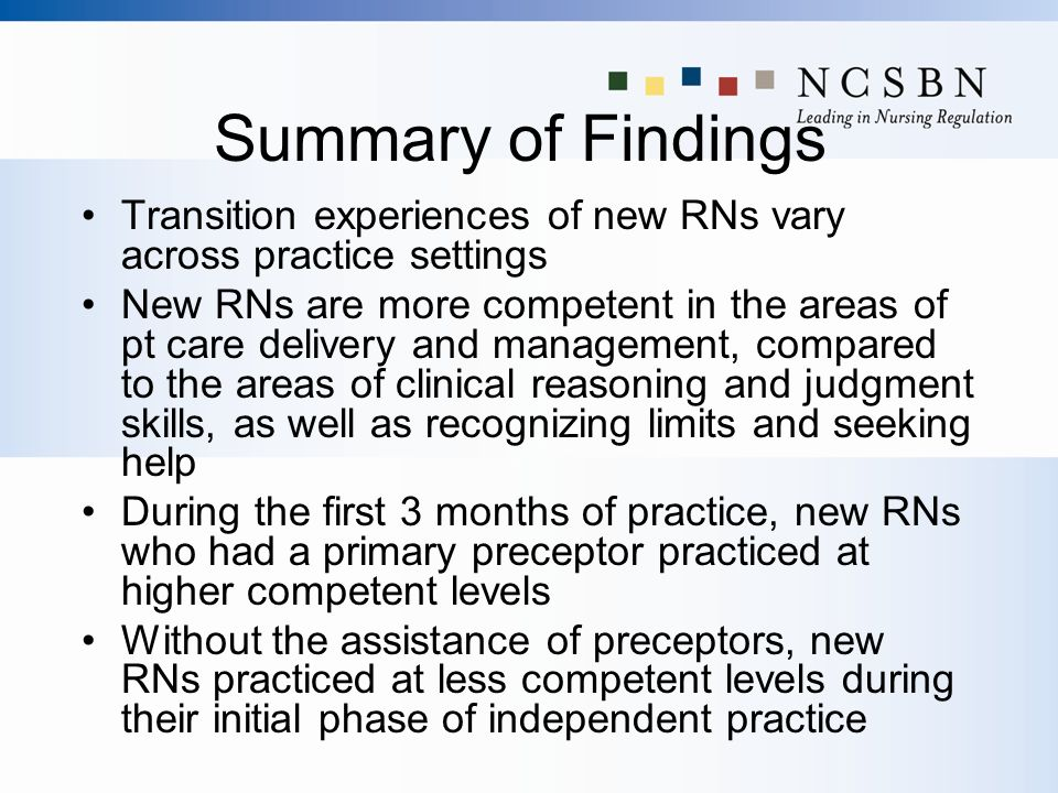 Summary of Findings Transition experiences of new RNs vary across practice settings New RNs are more competent in the areas of pt care delivery and ma