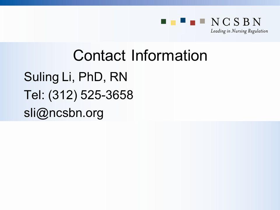Contact Information Suling Li, PhD, RN Tel: (312) 525-3658 sli@ncsbn.org