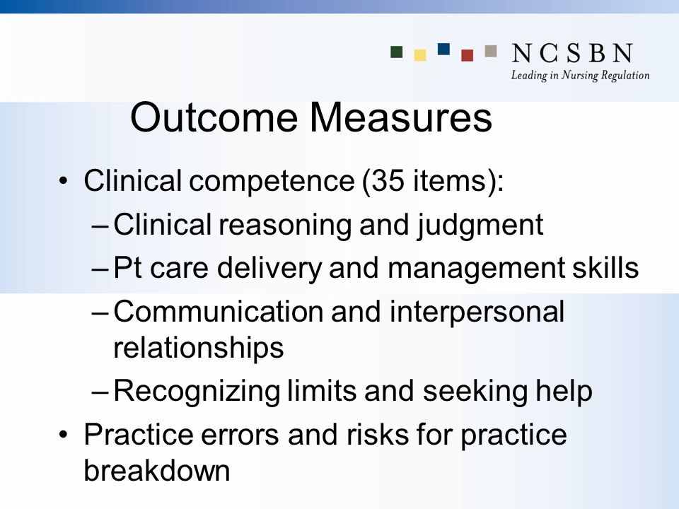 Outcome Measures Clinical competence (35 items): –Clinical reasoning and judgment –Pt care delivery and management skills –Communication and interpers