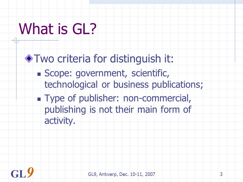 GL9, Antwerp, Dec. 10-11, 20073 What is GL.