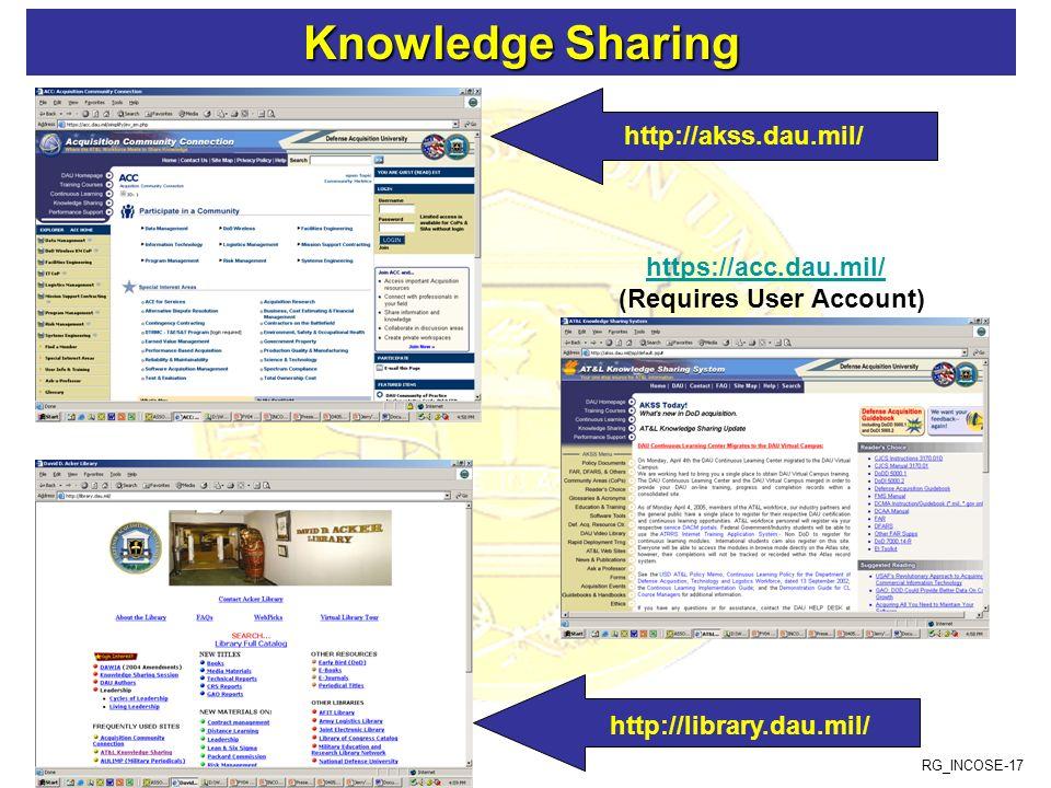 RG_INCOSE-17 Knowledge Sharing Knowledge Sharing https://acc.dau.mil/ (Requires User Account) http://akss.dau.mil/ http://library.dau.mil/