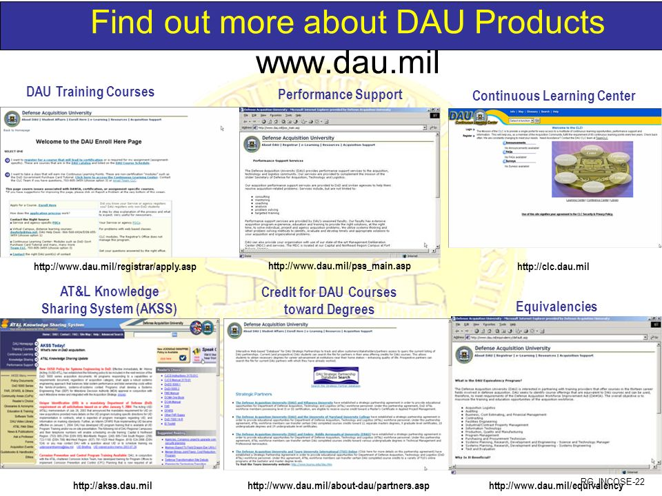 RG_INCOSE-22 Find out more about DAU Products www.dau.mil http://clc.dau.mil http://akss.dau.mil http://www.dau.mil/registrar/apply.asp Continuous Lea
