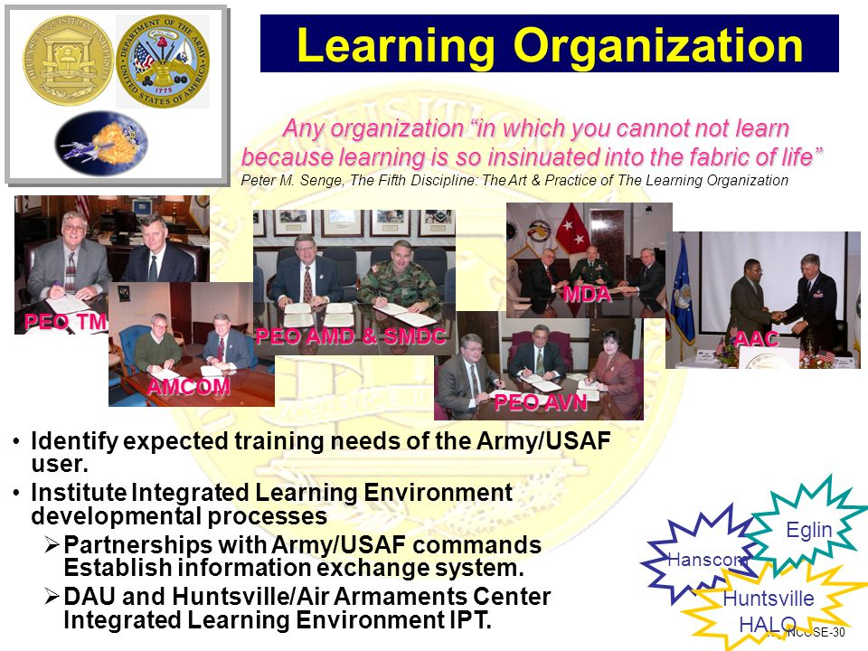 RG_INCOSE-30 PEO AVN Learning Organization Identify expected training needs of the Army/USAF user. Institute Integrated Learning Environment developme