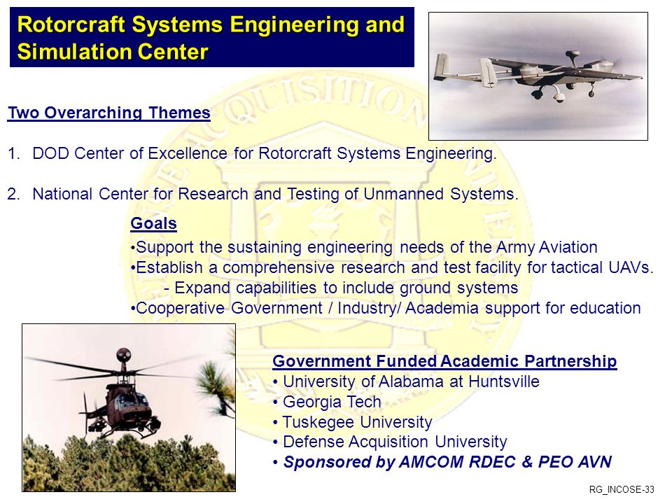RG_INCOSE-33 Two Overarching Themes 1.DOD Center of Excellence for Rotorcraft Systems Engineering. 2.National Center for Research and Testing of Unman