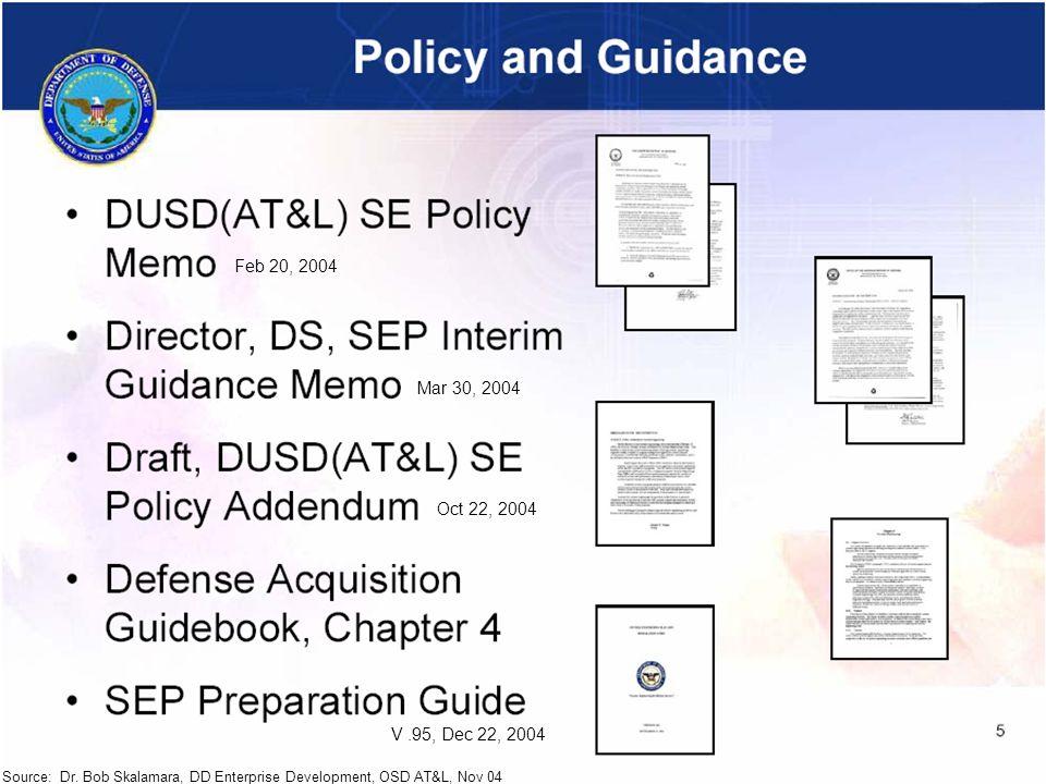 RG_INCOSE-40 Source: Dr. Bob Skalamara, DD Enterprise Development, OSD AT&L, Nov 04 Feb 20, 2004 Mar 30, 2004 Oct 22, 2004 V.95, Dec 22, 2004