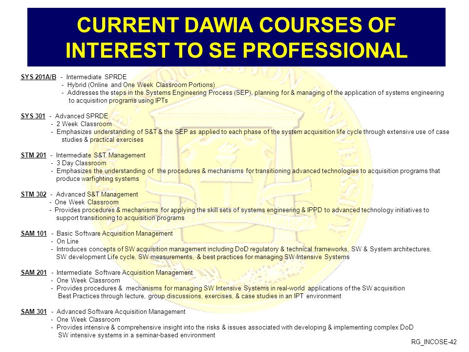 RG_INCOSE-42 CURRENT DAWIA COURSES OF INTEREST TO SE PROFESSIONAL SYS 201A/B - Intermediate SPRDE - Hybrid (Online and One Week Classroom Portions) -