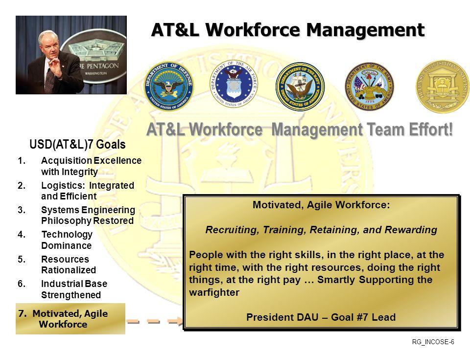 RG_INCOSE-6 USD(AT&L)7 Goals AT&L Workforce Management Team Effort.