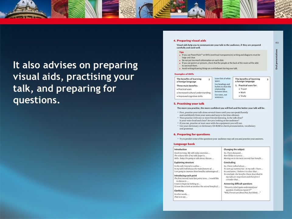 It also advises on preparing visual aids, practising your talk, and preparing for questions.