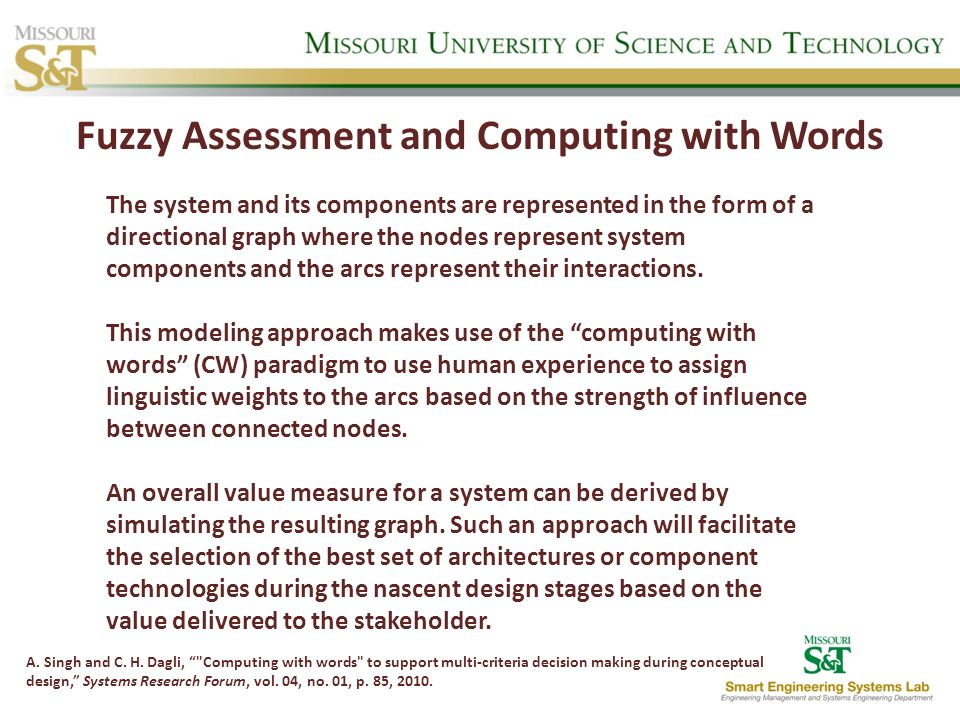 Fuzzy Assessment and Computing with Words A. Singh and C. H. Dagli,