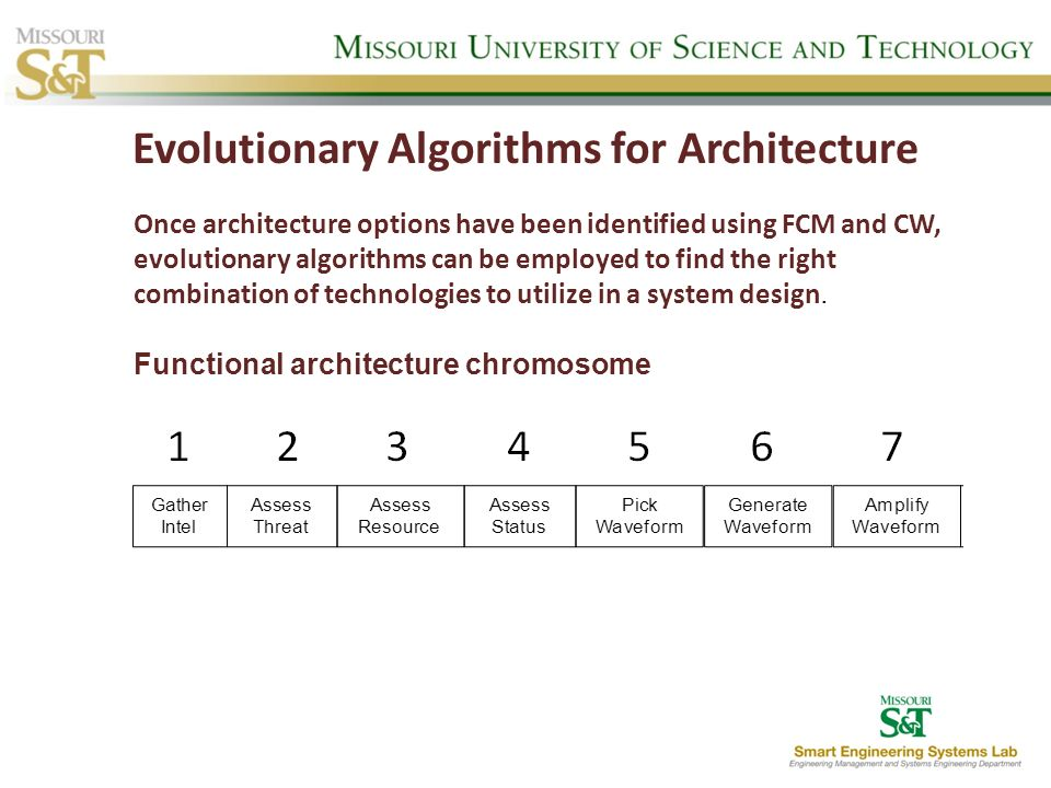 Evolutionary Algorithms for Architecture Once architecture options have been identified using FCM and CW, evolutionary algorithms can be employed to f