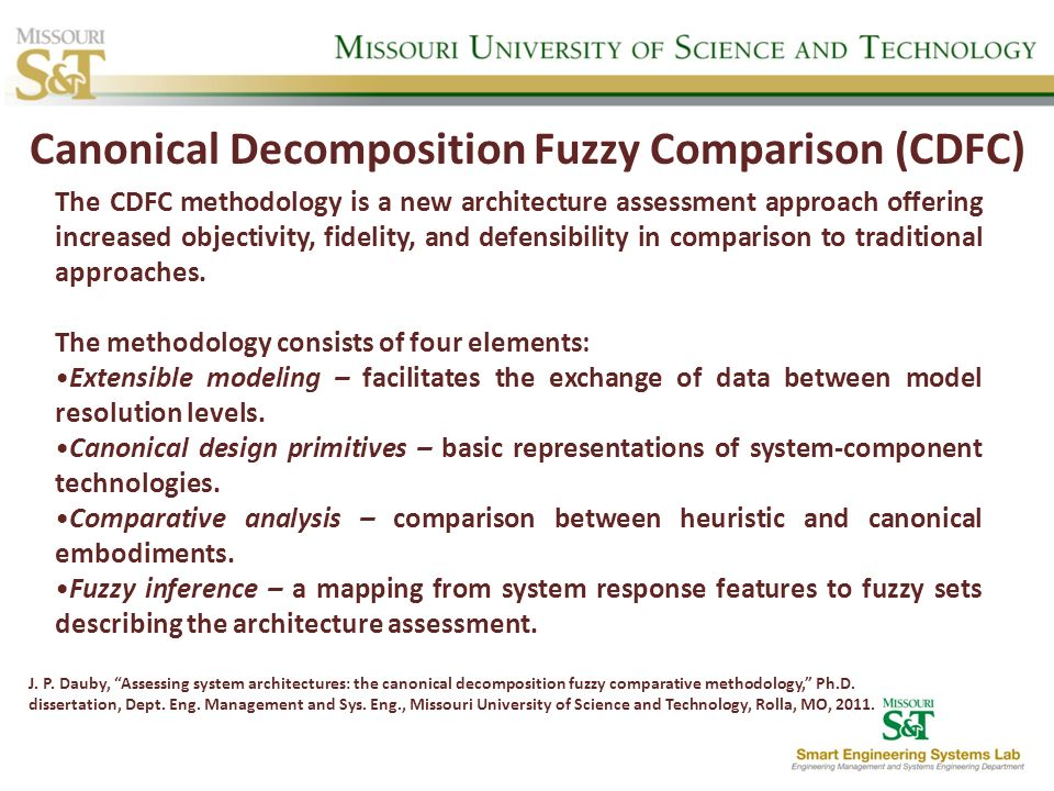 Canonical Decomposition Fuzzy Comparison (CDFC) The CDFC methodology is a new architecture assessment approach offering increased objectivity, fidelit