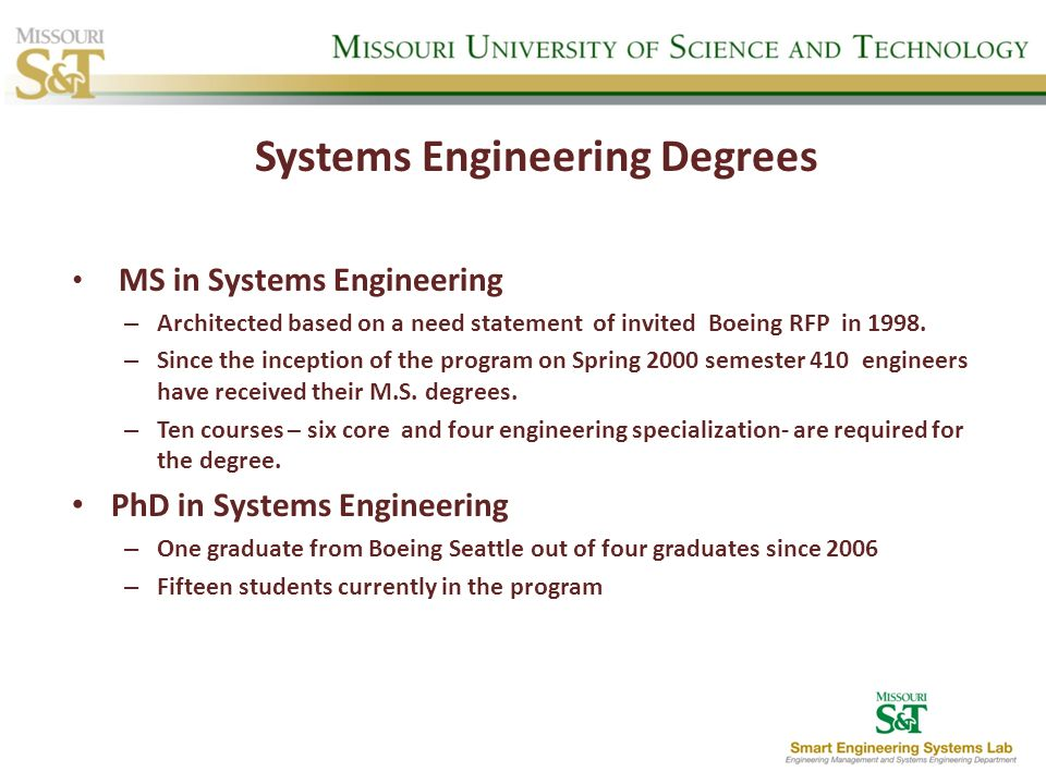 Systems Engineering Degrees MS in Systems Engineering – Architected based on a need statement of invited Boeing RFP in 1998. – Since the inception of