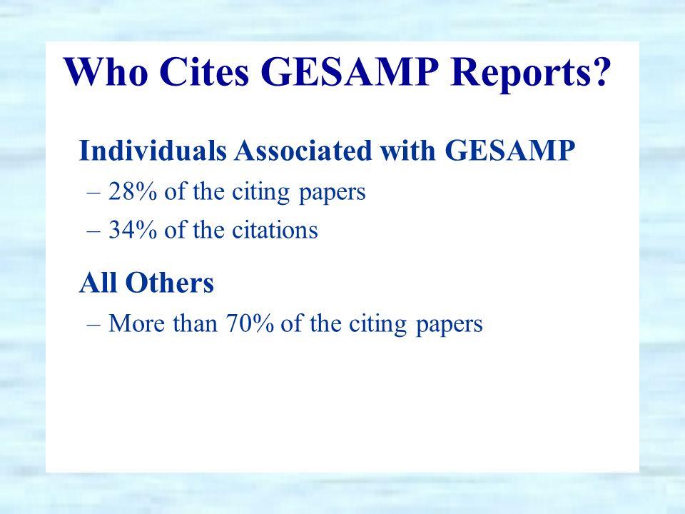 Who Cites GESAMP Reports.