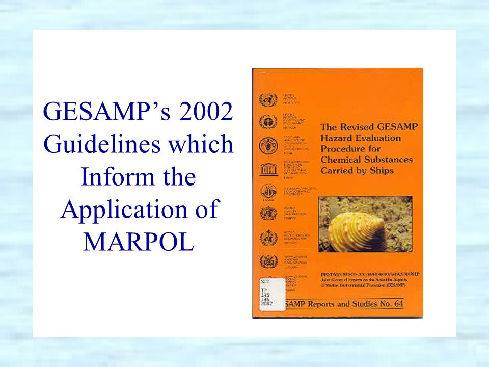 GESAMPs 2002 Guidelines which Inform the Application of MARPOL