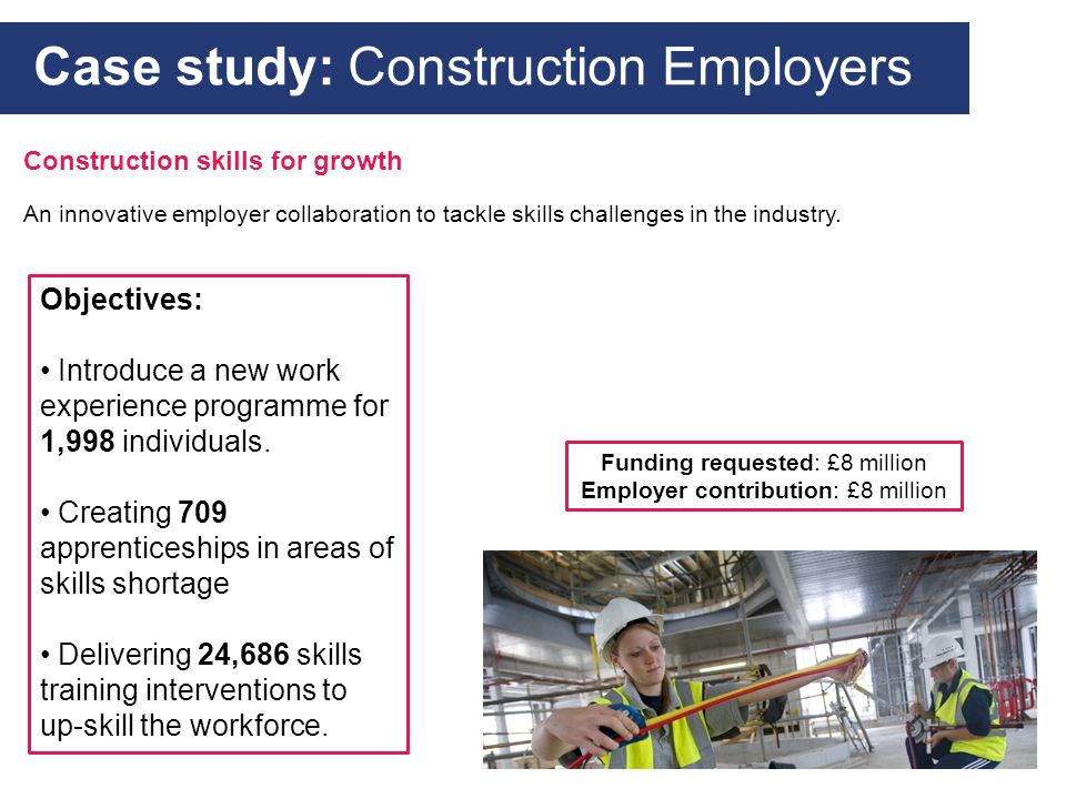 An innovative employer collaboration to tackle skills challenges in the industry. Case study: Construction Employers Objectives: Introduce a new work