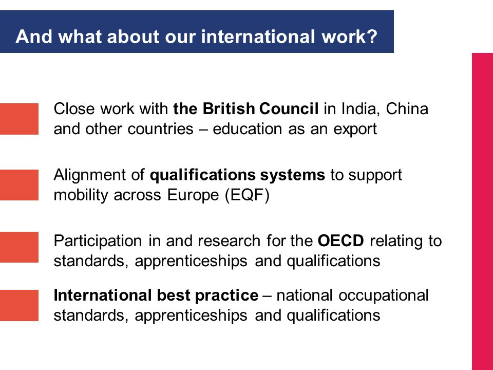 Close work with the British Council in India, China and other countries – education as an export Participation in and research for the OECD relating t