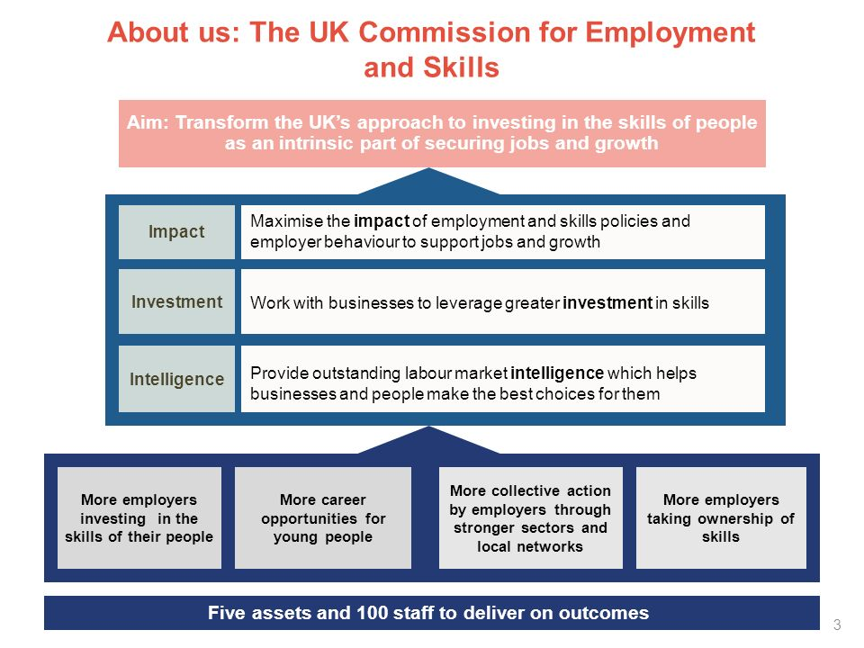 Key LMI resources from the UK Commission UK Commissions Employer Skills Survey 87,500 interviews To understand employer investment and skills challenges Monitor employer investment Assess employer skills needs Understand recruitment practices Working Futures 850,000 time series extrapolations To understand labour market prospects for next ten years Input to careers and skills advice Inform policymakers at national & local levels Inform curriculum strategies Employer Perspectives Survey 15,000 interviews To understand employer perspectives of recruitment and young people development Young People Apprenticeships Work placements
