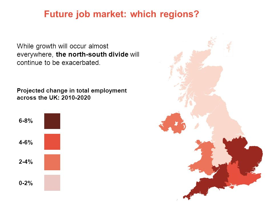 Future job market: which regions? While growth will occur almost everywhere, the north-south divide will continue to be exacerbated. Projected change