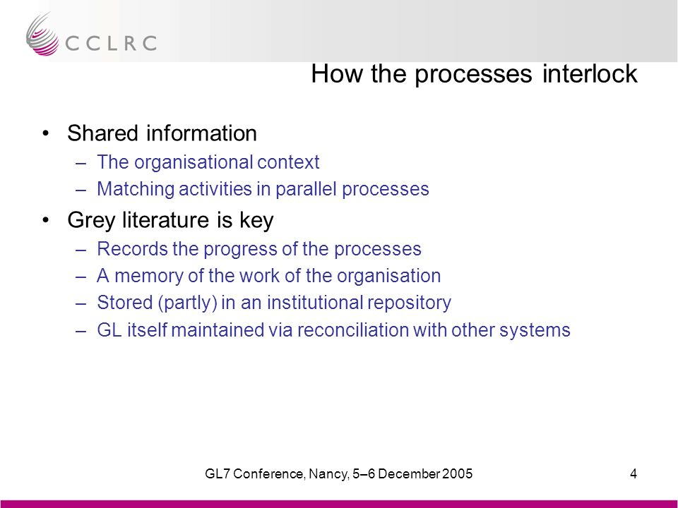GL7 Conference, Nancy, 5–6 December 20054 How the processes interlock Shared information –The organisational context –Matching activities in parallel