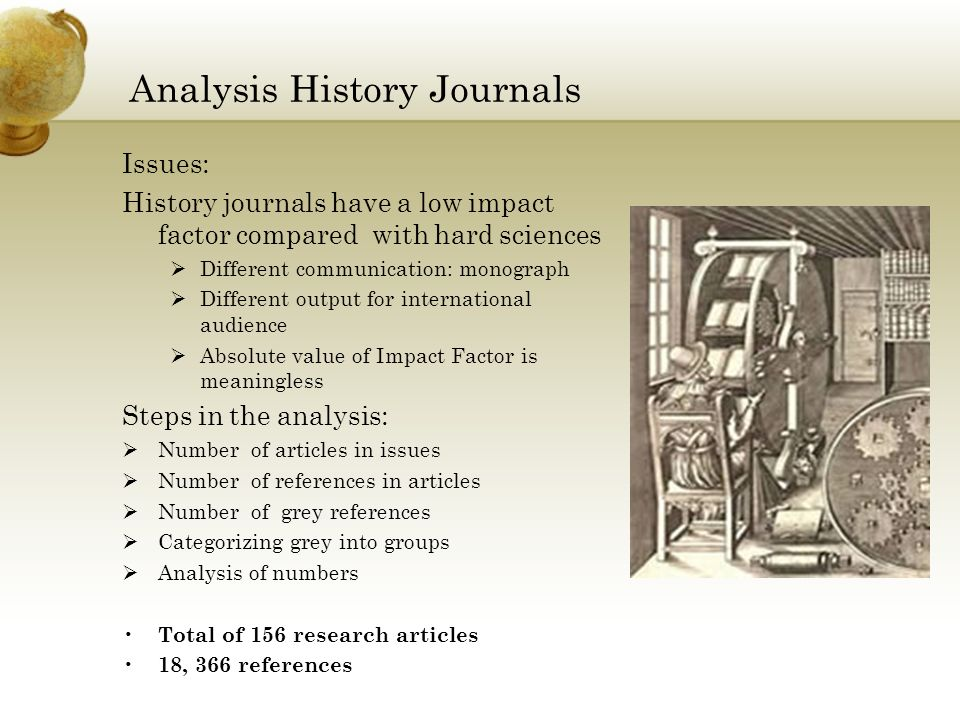 Analysis History Journals Issues: History journals have a low impact factor compared with hard sciences Different communication: monograph Different output for international audience Absolute value of Impact Factor is meaningless Steps in the analysis: Number of articles in issues Number of references in articles Number of grey references Categorizing grey into groups Analysis of numbers Total of 156 research articles 18, 366 references