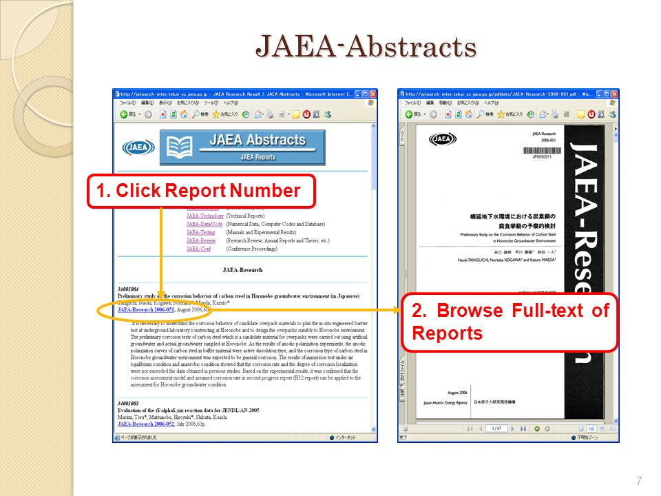 7 JAEA-Abstracts 1. Click Report Number 2. Browse Full-text of Reports