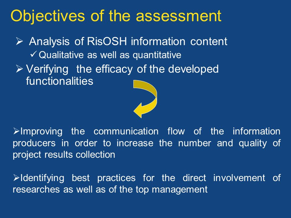 Objectives of the assessment Analysis of RisOSH information content Qualitative as well as quantitative Verifying the efficacy of the developed functi