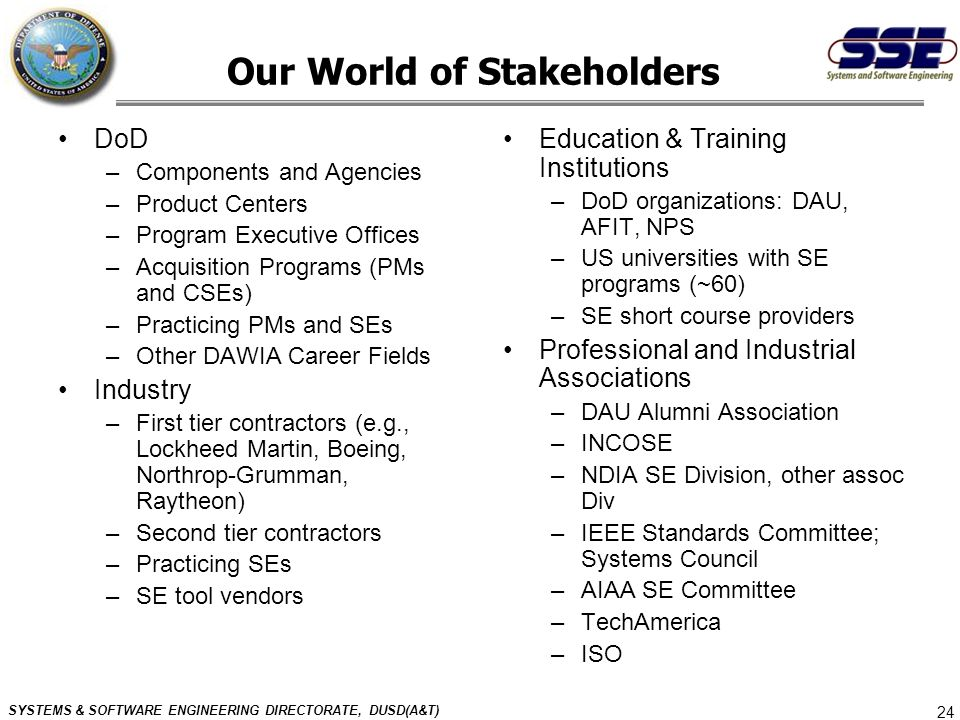SYSTEMS & SOFTWARE ENGINEERING DIRECTORATE, DUSD(A&T) 24 Our World of Stakeholders DoD –Components and Agencies –Product Centers –Program Executive Of