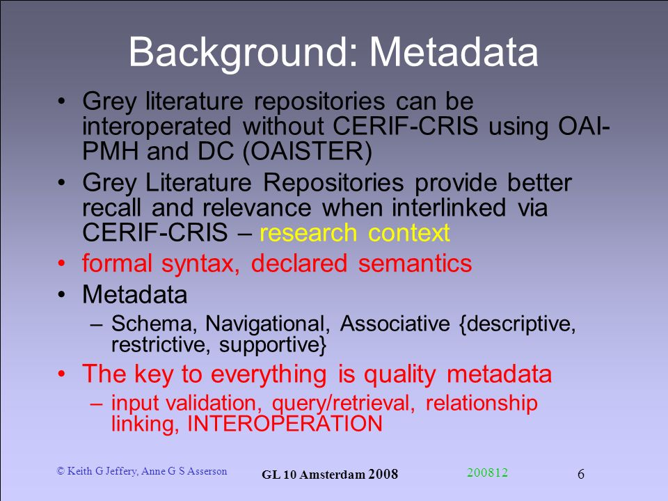 © Keith G Jeffery, Anne G S Asserson GL 10 Amsterdam 2008 200812 6 Background: Metadata Grey literature repositories can be interoperated without CERI