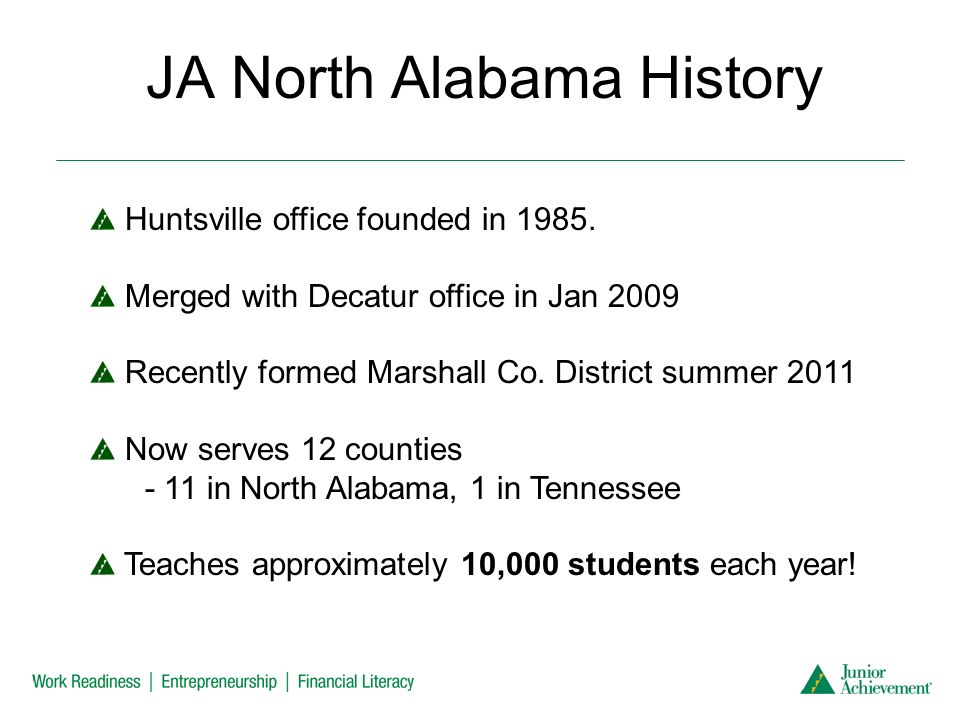 JA North Alabama History Huntsville office founded in 1985.