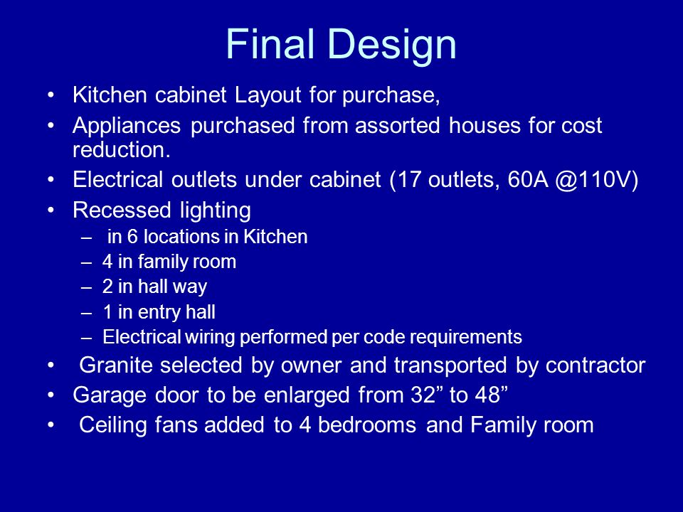 Final Design Kitchen cabinet Layout for purchase, Appliances purchased from assorted houses for cost reduction. Electrical outlets under cabinet (17 o