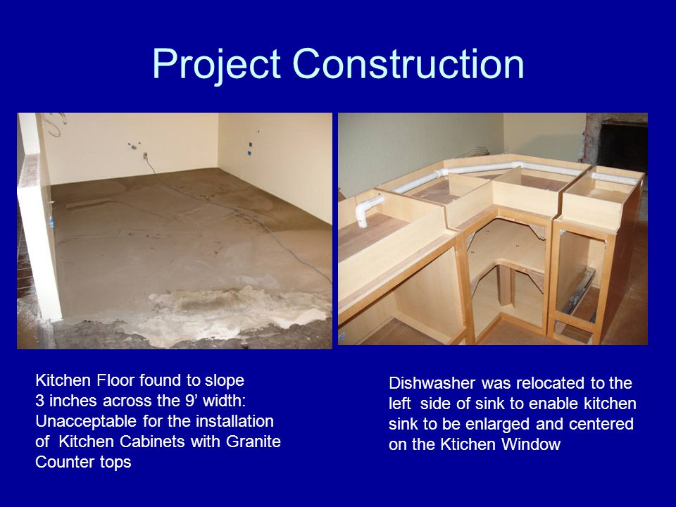 Project Construction Kitchen Floor found to slope 3 inches across the 9 width: Unacceptable for the installation of Kitchen Cabinets with Granite Coun