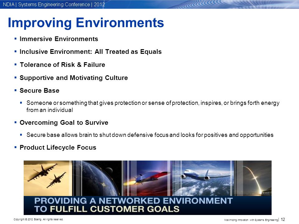Copyright © 2012 Boeing. All rights reserved. Improving Environments Immersive Environments Inclusive Environment: All Treated as Equals Tolerance of