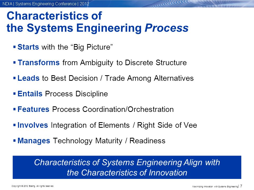 Copyright © 2012 Boeing. All rights reserved. Characteristics of the Systems Engineering Process Starts with the Big Picture Transforms from Ambiguity